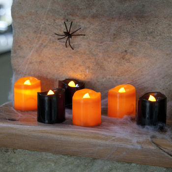 Set Of Six Halloween Battery LED Tea Lights