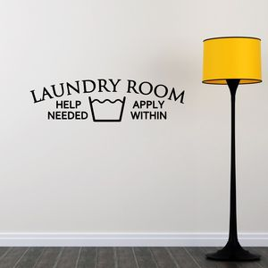 Laundry Room Help Needed Wall Sticker