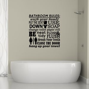 Bathroom Rules Word Cloud Wall Sticker - wall stickers