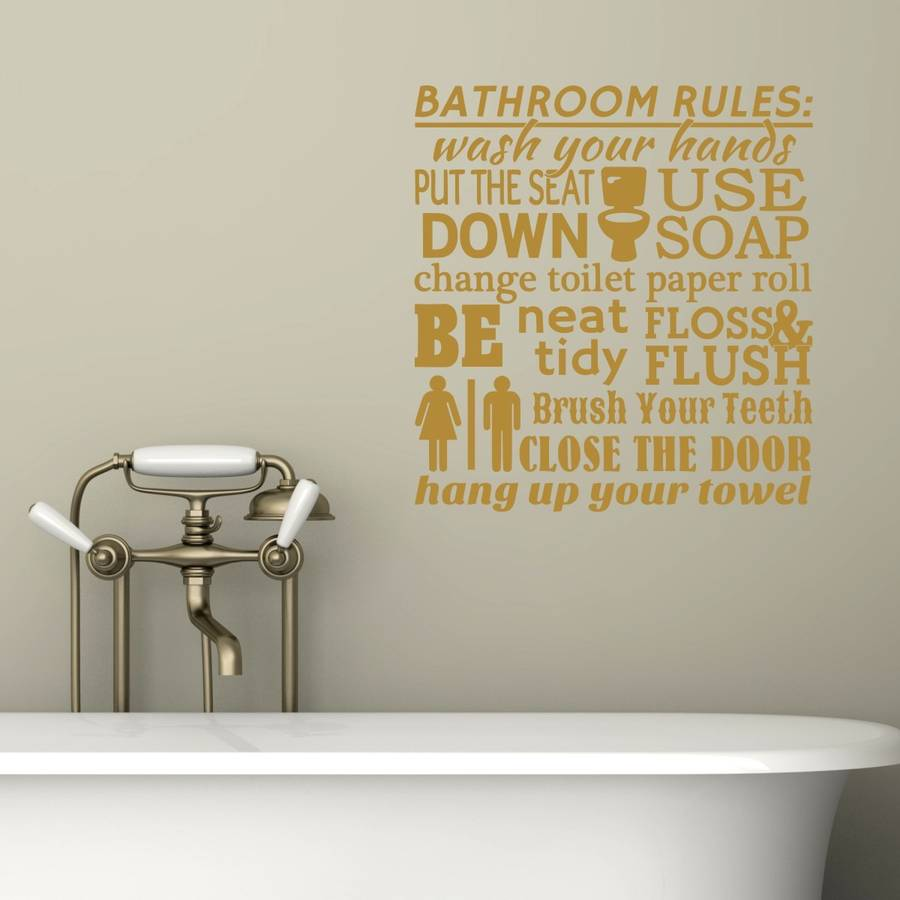 Bathroom Rules Word Cloud Wall Sticker By Mirrorin