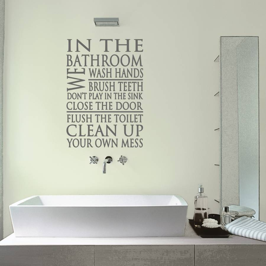 Bathroom Rules Word Block Wall Sticker By Mirrorin