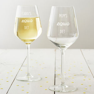 Personalised 'Liquid Diet' Wine Glass - gifts for the home