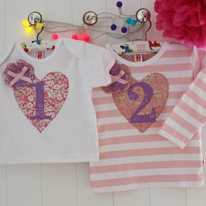 Applique Age Heart Birthday T Shirt - personalised