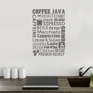 Coffee Word Cloud Wall Sticker - home decorating