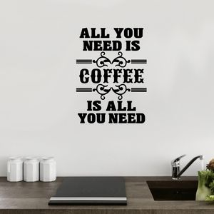 All You Need Is Coffee Wall Sticker - bedroom