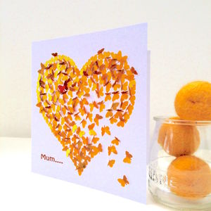 Mum Or Mam Heart Of Gold Butterfly Card - birthday cards