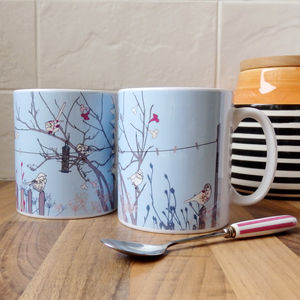 Birds At Feeder Ceramic Mug
