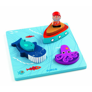 Six Pcs Wooden Moby Sea Whale Interactive Puzzle