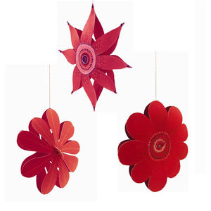3D Flower Hanging Decoraions Set Of Three