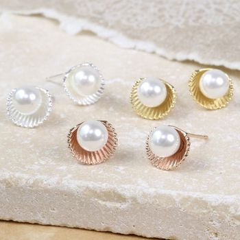 'Ariel' Shell And Pearl Stud Earrings