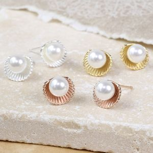 'Ariel' Shell And Pearl Stud Earrings - summer sale