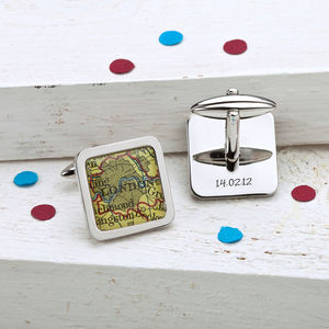 Personalised Square Map Location Cufflinks - birthday gifts