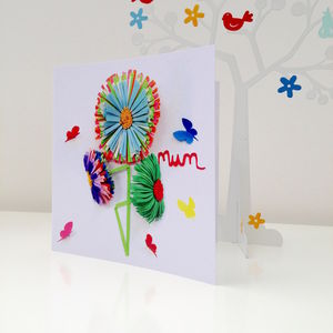 My Mum Butterfly Flower Card