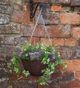 Artificial Purple And Yellow Hanging Basket