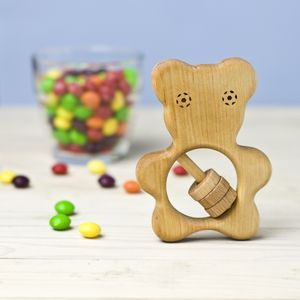 Organic Wooden Teddy Bear Rattle - toys & games
