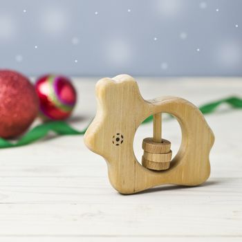 Wooden Bunny Shaped Rattle