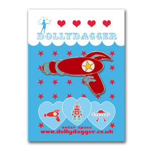 Enamel Retro Raygun Brooch - pins & brooches
