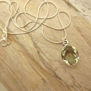 Green Amethyst And Silver Pendant Necklace - women's jewellery