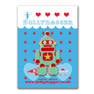 Enamel Robot Brooch - women's jewellery