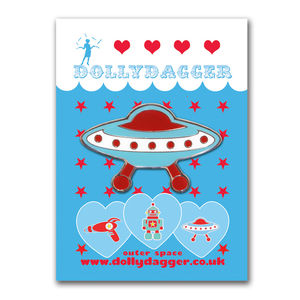 Dollydagger Flying Saucer Brooch - children's jewellery