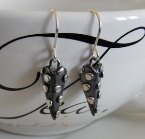 Dotty Heart Silver Drop Earrings