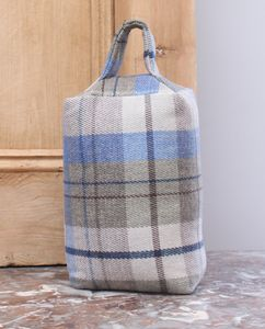 Blue Tartan Check Door Stop - door stops