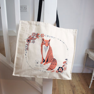 Fox And Flowers Tote Bag