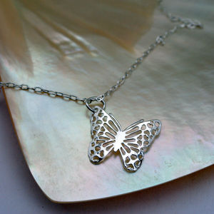 Girls Silver Butterfly Wings Necklace
