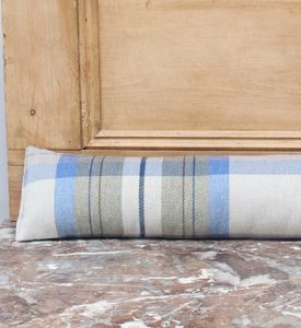 Blue Tartan Check Draught Excluder