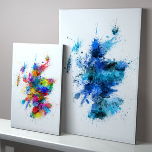Scotland Paint Splashes Map - canvas prints & art