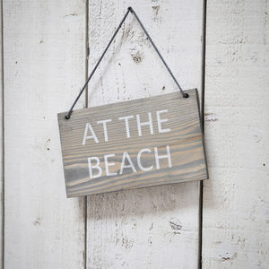 At The Beach Hanging Sign Wooden