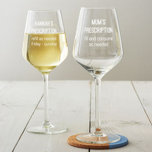 Personalised Prescription Wine Glass - tableware