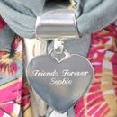 Silver heart scarf ring - engraved