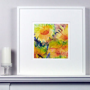 Sunflowers Two Fine Art Watercolour Print - nature & landscape