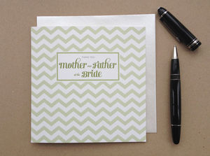 Chevron Mother And Father Of The Bride Thank You Card - new in wedding styling