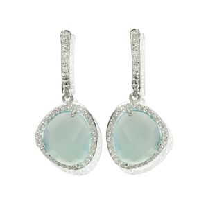 Aqua Gemstone Silver Drop Earrings Diamante - earrings