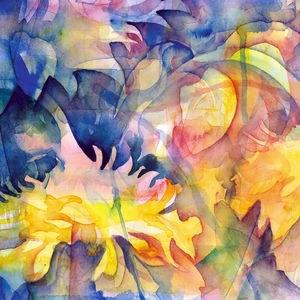 Yellow Floral Fine Art Canvas Print Two - modern & abstract
