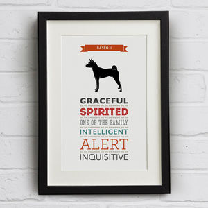 Basenji Dog Breed Traits Print