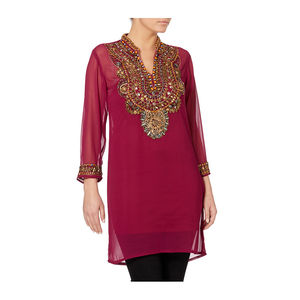 Purple Hand Embroidered Tunic - tops & t-shirts