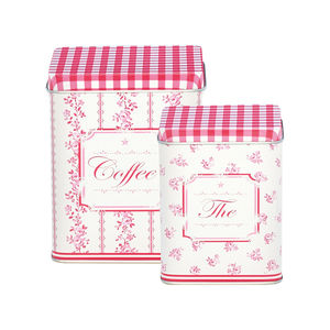Two Country Floral Tea And Coffee Tins
