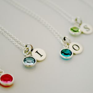 Birthstone Silver Necklace