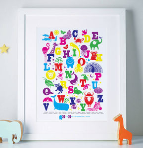 Personalised Animal Alphabet Print - children's pictures & paintings