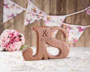 Carved Linked Wooden Letters - engagement gifts