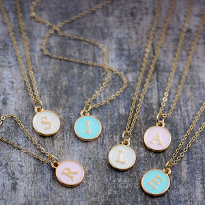 Enamel Initial Charm Necklace - weddings