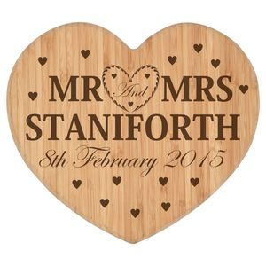 Personalised Mr And Mrs Heart Chopping Board - kitchen