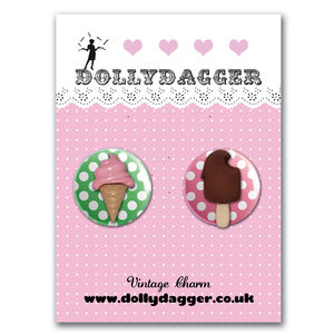 Dollydagger Ice Cream Polka Dot Button Badge Set