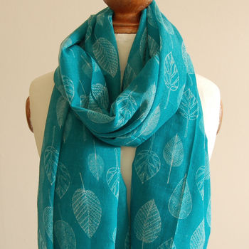 Green Abstract Leaf Print Scarf