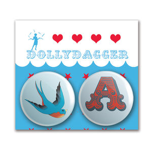 Dollydagger Swooping Swallow Personalised Badge Set