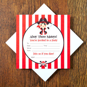 Pirate Party Invitations - childrens party invitations