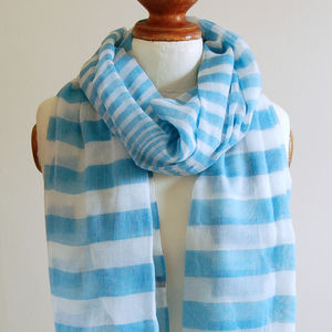 Blue Striped Scarf - hats, scarves & gloves